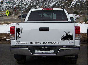 DEER Bow Hunter Tree Stand Window Tailgate Scene  Large Decal Sticker - Bow hunting decals for trucks