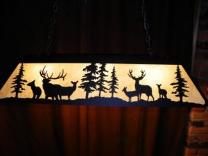 X Large Laser Cut Steel Elk Mule Deer Pool Table Light Lamp Hunt - Antler pool table light