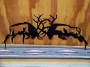 Steel FIGHTING ELK Outdoor Yard art