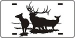 ELK SCENE Car or Truck emblem fun LICENSE PLATE of 6 point bull and cow