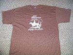 LIFE HAPPENS ENJOY THE RIDE Lg Brn T-Shirt Horse saddle