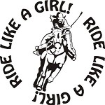 RIDE LIKE A GIRL HORSE RIDER DECAL STICKER SADDLE ROPE