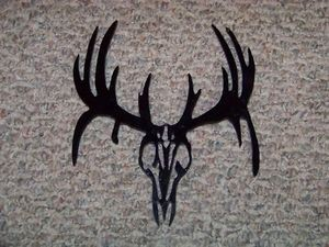 Steel WHITETAIL SKULL Outdoor Yard art Powder coated
