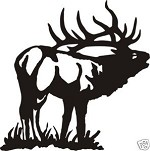 LARGE BUGLEING ELK LARGE DECAL bow arrow call hunt