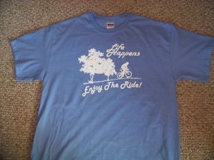 LIFE HAPPENS ENJOY THE RIDE XL Blu TShirt Bicycle bike