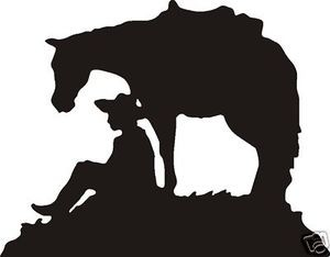 COWBOY & HORSE AT CROSS DECAL CAR OR WALL DECOR