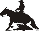 REINING HORSE COWBOY DECAL CAR OR WALL DECOR