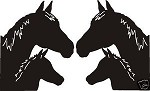 PAIR OF HORSE HEAD COWBOY DECALS RIGHT AND LEFT