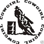 COWGIRL BARREL RACER WESTERN DECAL STICKER SADDLE ROPE SPURS