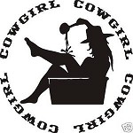 COWGIRL IN TUB DECAL STICKER SADDLE ROPE SPURS