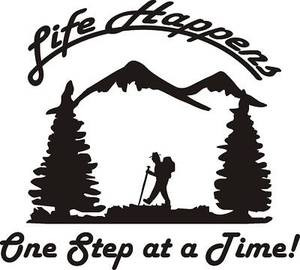 LIFE HAPPENS ONE STEP at a time Hiker Decal climb boot rope