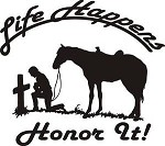 LIFE HAPPENS COWBOY AT CROSS HORSE WESTERN EXTERIOR DECAL Saddle spurs rope