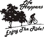 LIFE HAPPENS ENJOY THE RIDE Exterior decal mountain bike chain