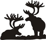 Pair of Caribou decal bow arrow blind deer hunt