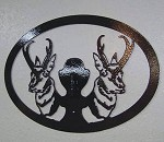 STEEL WALL DISPLAY Plasma Cut Powder Coated MOUNT ANTELOPE EUROPEAN PEDESTAL