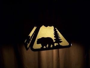 Awsome Laser cut Steel Pendant Rustic BLACK BEAR LAMP Deer Elk Hunt house decor