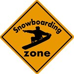 SNOWBOARD ZONE Aluminum Sign Ski area warning run slope Boot Binding