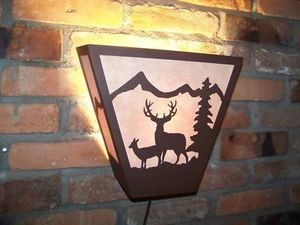 Laser Plasma Steel ANYWHERE SCONCE Mule Deer Rustic LAMP elk hunt cabin decor