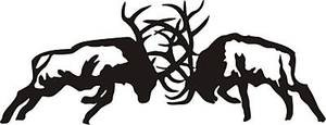 Large 2' 6x6 Fighting Elk decal sticker wall or car bow arrow blind deer hunt