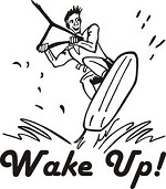 WAKE UP WAKEBOARD ROPE PWC BOAT TRUCK DECAL STICKER