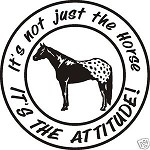 Large APPALOOSA ATTITUDE HORSE DECAL Saddle spurs rope