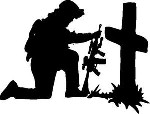 SOLDIER AT CROSS DECAL STICKER CAR OR WALL DECOR NAVY ARMY MARINES