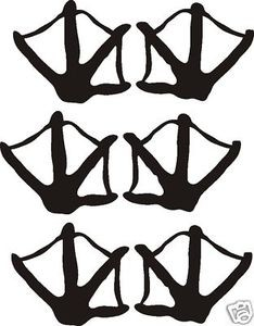 Set of six DUCK TRACKS decal design call blind hunt