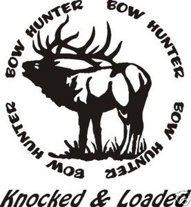 BOW HUNTER circle decal ELK hunt call blind arrow