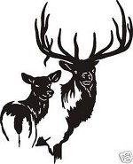 PAIR OF ELK Bull and Cow Decal for wall or car window