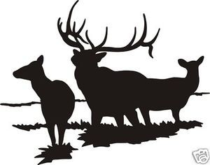 ELK FAMILY DECAL Large bull with cows