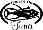 HOOKED ON TUNA Salt water fish fishing trip lure Car or Wall Decal / Sticker LRG