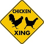 CHICKEN XING CROSSING EXT Aluminum Sign Rooster & Hen fun rustic garden decor
