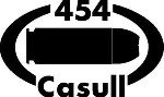454 CASULL gun pistol Ammunition Bullet exterior oval decal sticker car or wall