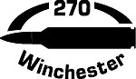 270 Win gun Rifle Ammunition Bullet exterior oval decal sticker car or wall