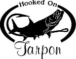 HOOKED ON TARPON Salt water fish fishing trip lure Car Wall Decal / Sticker Lrg