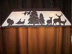 Laser cut Steel Fox & Whitetail Deer Lrg Pool Table Light Lamp hunt cabin Decor