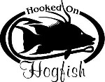HOOKED ON HOGFISH Salt water fish fishing trip lure Car Wall Decal /Sticker LRG