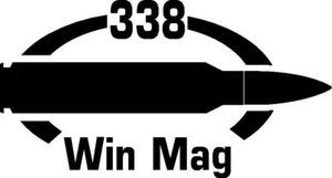 338 Win Mag gun Rifle Ammunition Bullet exterior oval decal sticker car or wall