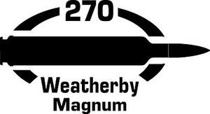 270 Weatherby Mag gun Rifle Ammunition Bullet exterior oval decal sticker car