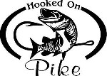 HOOKED ON PIKE Fresh water fish fishing trip lure Car Wall Decal/Sticker Lrg