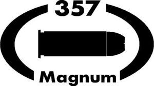 357 Magnum gun pistol Ammunition Bullet exterior oval decal sticker car or wall