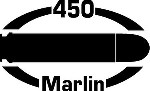 450 MARLIN gun pistol Ammunition Bullet exterior oval decal sticker car or wall