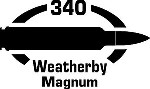 340 Weatherby Mag gun Rifle Ammunition Bullet exterior oval decal sticker car