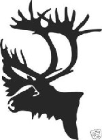 Caribou shoulder mount decal sticker bow arrow blind deer hunt