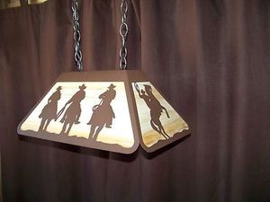 Laser Cut Steel COWBOY HORSE & ROPER Pool Med Table Light Lamp rustic cabin