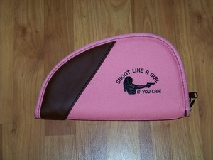 "Shoot Like a Girl PINK PISTOL Gun CASE RUG Medium 11"" Fits 1911 frame of similar"