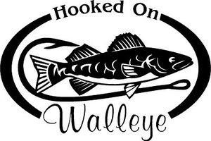HOOKED ON WALLEYE Fresh water fish fishing trip lure Car Wall Decal/Sticker Lrg