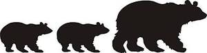 "Black BEAR FAMILY 12"" Sow with cubs decal Sticker for wall, car hunt cabin"