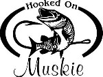 HOOKED ON MUSKIE Fresh water fish fishing trip lure Car Wall Decal/Sticker Lrg