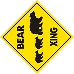 BEAR XING CROSSING EXT Aluminum Sign Sow and cubs family fun rustic decor